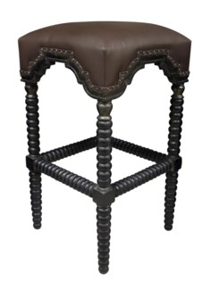 Abacus Bar Stool, Hand Rubbed Black w/ Gold Trim