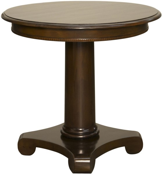 Antigua Round End Table, Distressed Brown