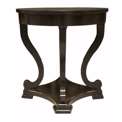 Bilbao Round End Table, Distressed Brown