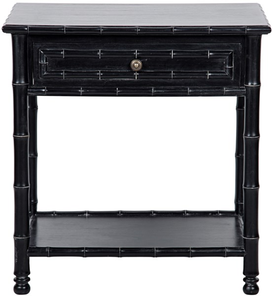 Bamboo Open Shelf End Table, Hand Rubbed Black