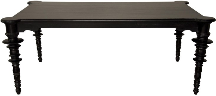 Ferret Dining Table, Distressed Black