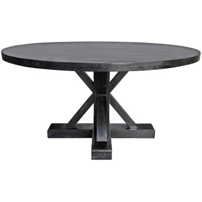 "Criss-Cross Round Table, 60"", Hand Rubbed Black"