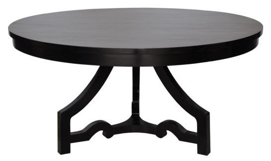 3 Leg Round Dining Table, Distressed Black