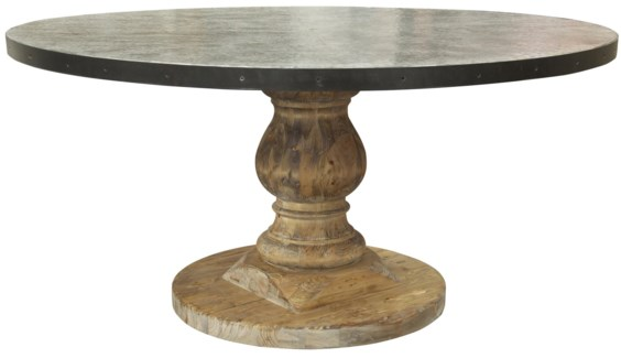 QS Zinc Top Table, Old Wood