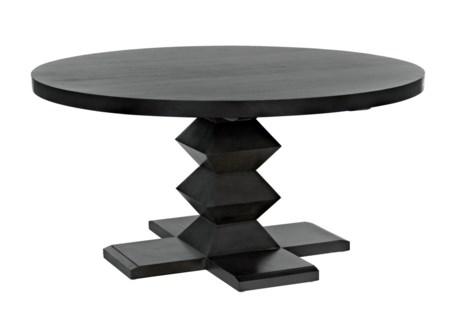 "Zig-Zag Base Dining Table, 60"", Pale"