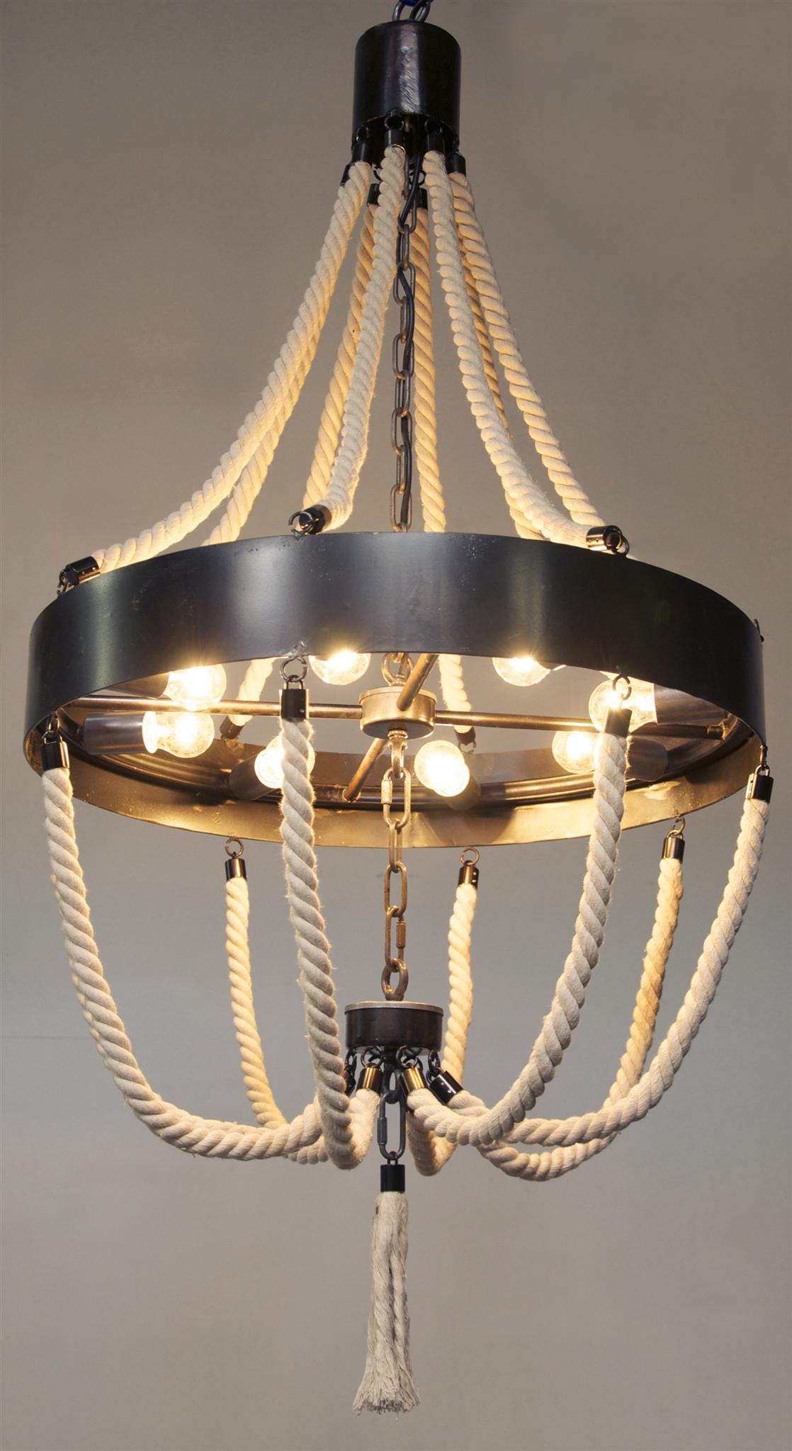 Alec Chandelier Metal and Rope chandeliers