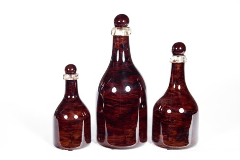 Bottle Set of 3 in Espresso Bark Finish