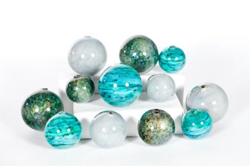 """Set of 12 Spheres in Tropical Tides, Driftstone, Stone Path"""