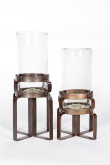 Large Clear Hurricane with Rust Finish Steel Base