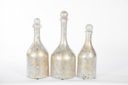 Bottles w/ Tops Set of 3 in Dappled Light Finish
