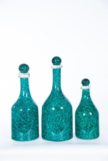 Bottles w/ Tops Set of 3 in Valley Crescent Finish