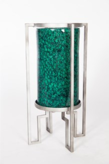 Cylinder w/ Metal Base in Valley Crescent Finish