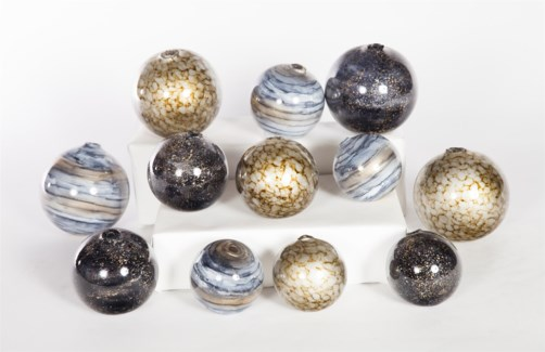 """Glass Spheres Set of 12 in Emporer's Stone, Cheers & Sea Pearls"""