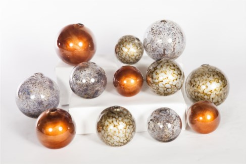 """Glass Spheres Set of 12 in Driftstone, Sea Pearls, Flair"""