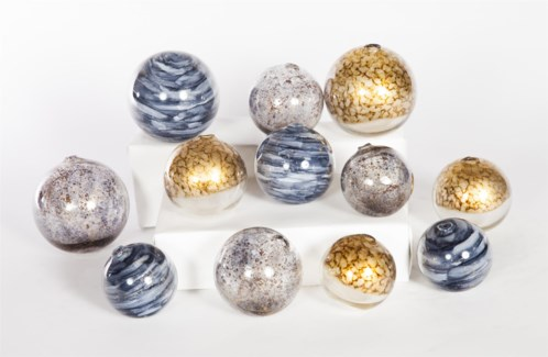 """Glass Spheres Set of 12 in Mythic, Driftstone & Glimmer"""