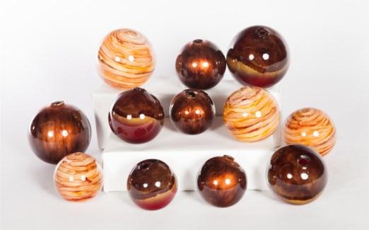 Glass Spheres Set of 12 in Burning Rock, Flair & Desert Valley
