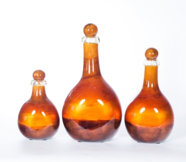Flat Bottles with Tops Set of 3 in Tuscan Sun