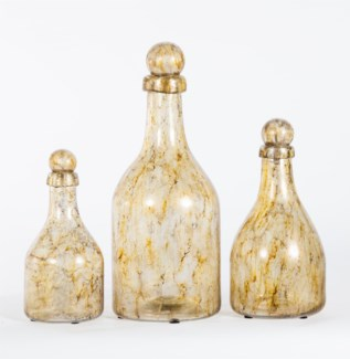 Bottle Set of 3 in Currier Gilt