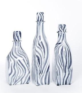 Medium Glass Bottle with Stopper in Zebra