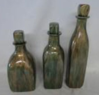 Large Glass Bottle with Stopper in Copper Mint