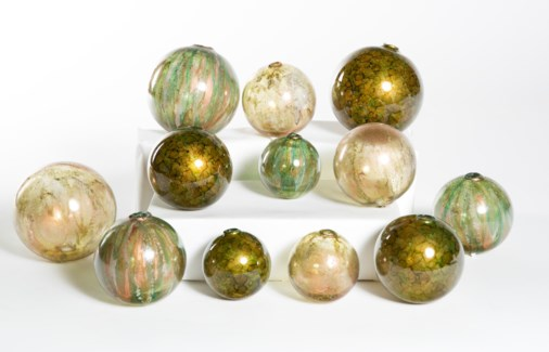 """Set of 12 Assorted Balls in Grassroots, Persian Veil, and Copper Mint"""