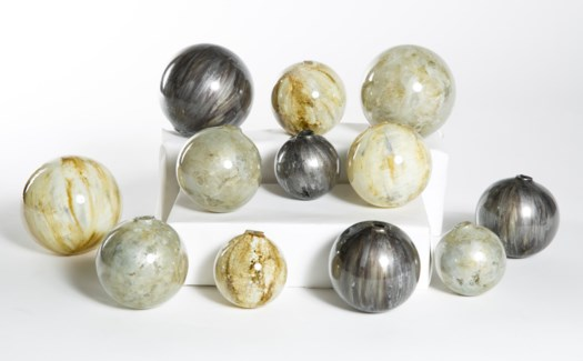 Set of 12 Spheres  in Wrinkled Linen, Concord & Oyster Shell
