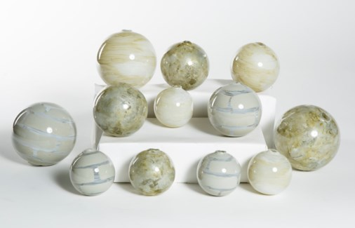 Set of 12 Spheres in Gypsum Flats, Chimney Clouds & Oyster Shell