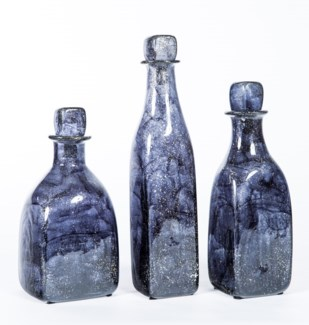 Large Glass Bottle with Stopper in Emperor's Stone Finish