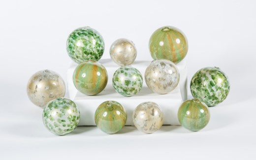 Set of 12 Spheres in Dappled Light, Algae Bloom & Palm Leaf Finish