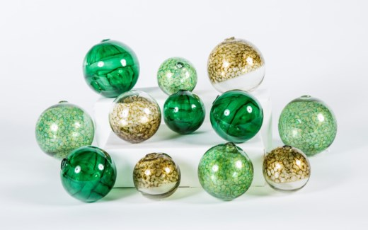 Set of 12 Spheres in Glimmer, Julep & Clover Patch Finish