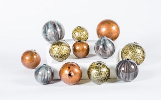 Set of 12 Spheres in Sea Pearls, Copper Blaze & Graphite Finish