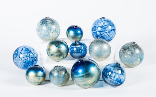 Set of 12 Spheres Aquatic Haze, Sapphire Seas & Cool Waters Finish