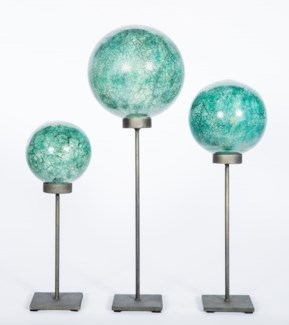 Set of 3 Glass Balls on Stands in Niagara Falls Finish