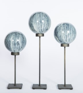 Set of 3 Glass Balls on Stands in Black Sand Finish