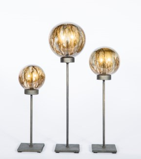 Set of 3 Glass Balls on Stands in Sutter's Mill Finish
