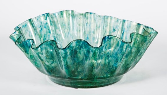 Large Ruffle Bowl in Sea Glass Finish