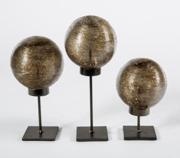 Set of 3 Glass Balls on Stands in Stardust Finish