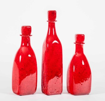 Large Glass Bottle with Stopper in Poppy Fields Finish