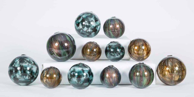 Set of 12 Spheres in Deep Forest, Hematite and Sutter's Mill Finish