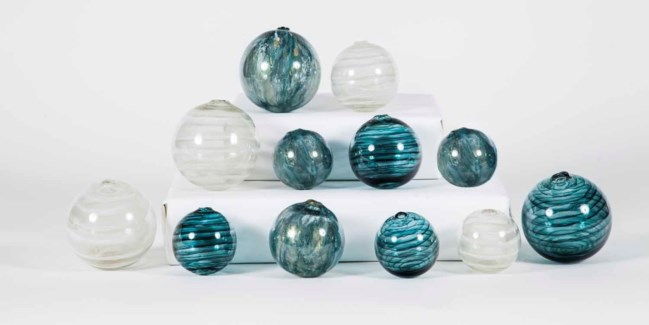 Set of 12 Spheres in Tidewater, Caribe and Glacier Valley Finish