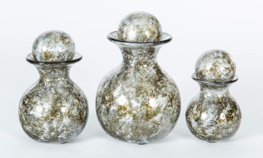 Set of 3 Bulb Bottles w/ Tops in Granite Dust Finish