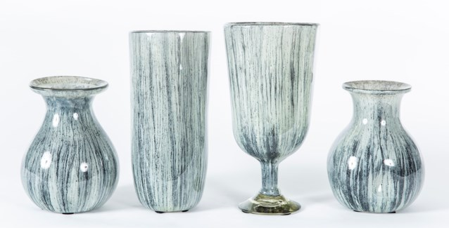 Set of 4 Vases in Black Sand Finish