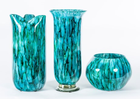 Vases and Bowl Set in Lake Como Finish