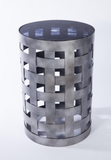 Basket Pattern Accent Table with Glass Top in Emperor's Stone Finish