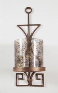 Small Cylinder w/ Metal Wall Base in Driftstone Finish