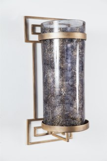 Large Cylinder w/ Metal Wall Base in Emperors Stone Finish