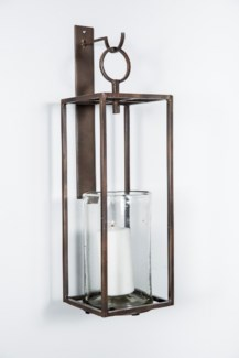 Wall Mounted Hurricane Holder in Bronze Finish with Clear Glass