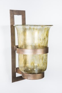 Large Clear Wall Sconce in Currier Gilt with Steel Base in Antique Brass