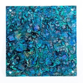 "Rain Dance Painted Glass Wall Art - 32"" Square"