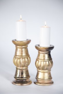 Grecian Candle Holders Set of 2 in Aurum Finish
